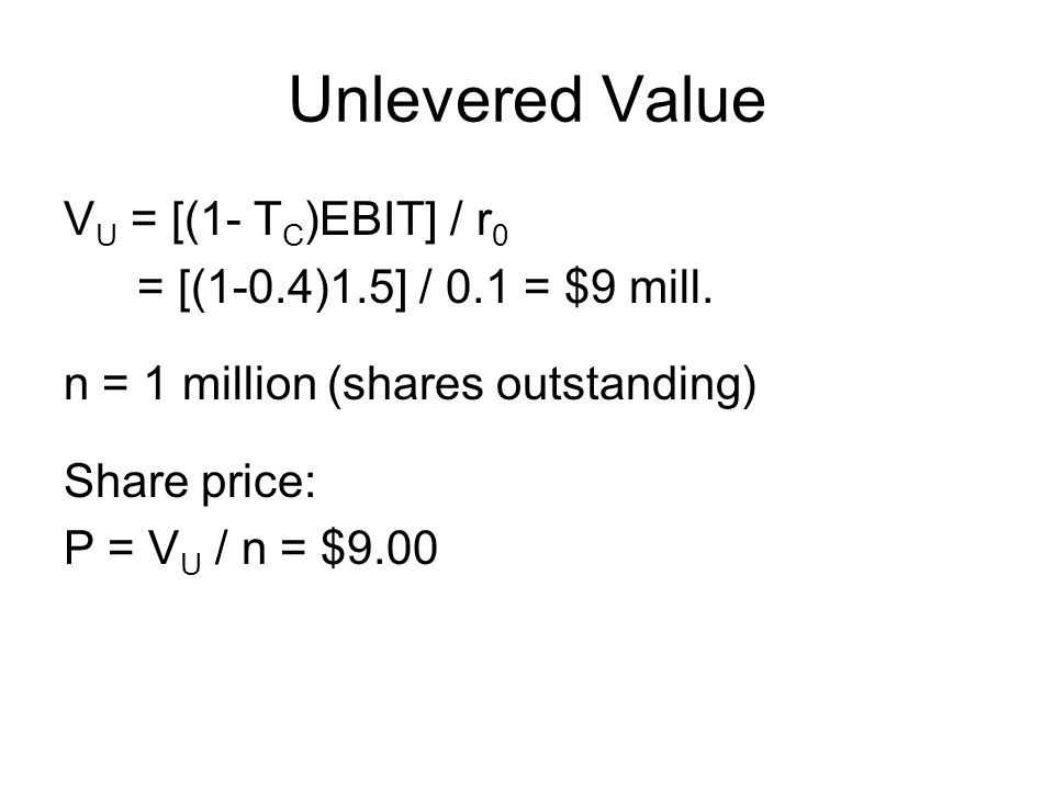 Unlevered Value VU = [(1- TC)EBIT] / r0